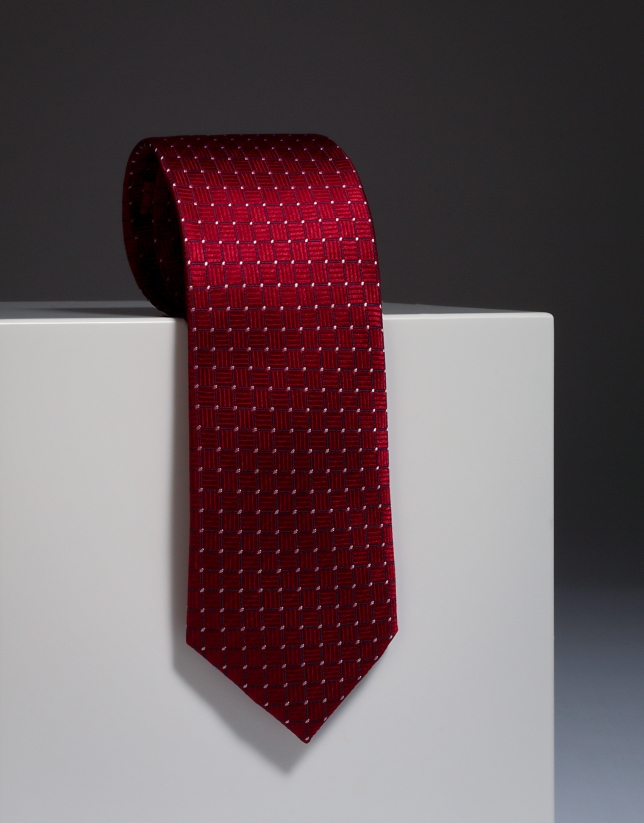Red silk tie with ivory design