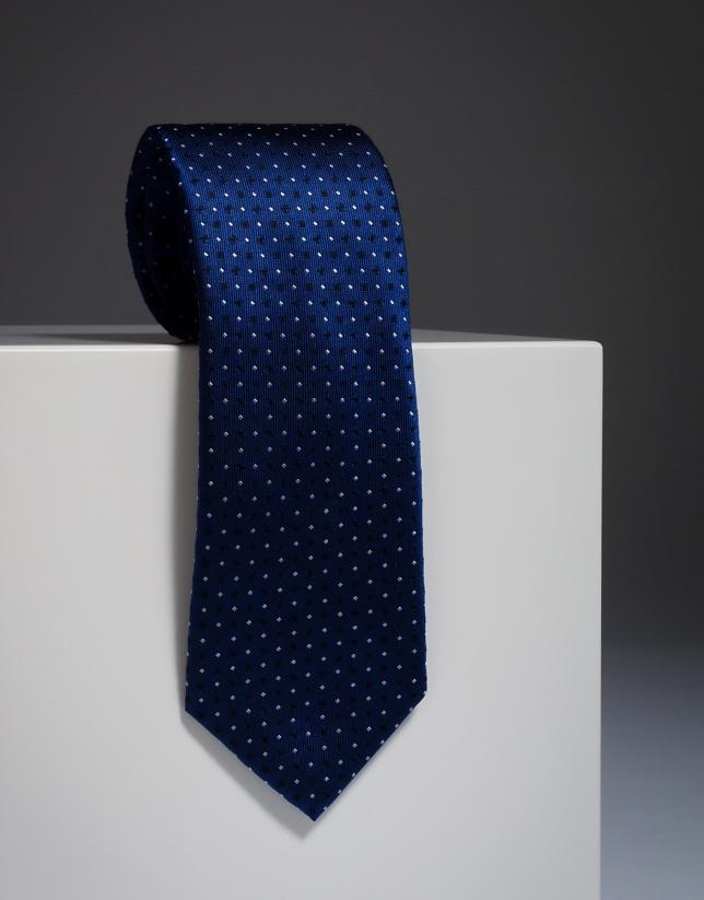 Blue silk tie with ivory / navy blue checks