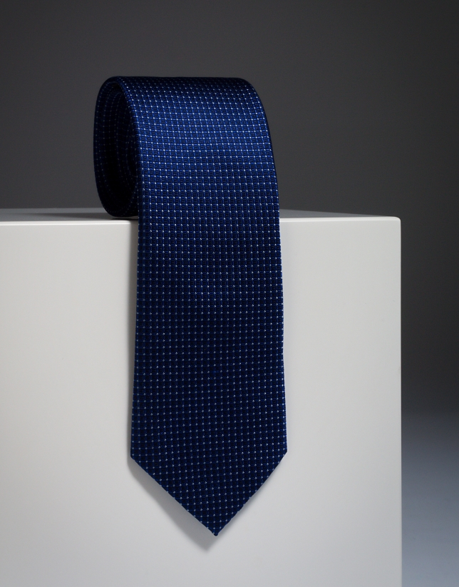 Blue silk tie with light blue microdots