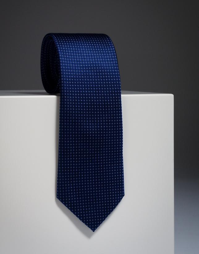 Corbata seda azulón con microtopo celeste