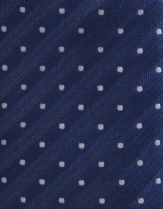 Cravate en soie bleu marine à pois écrus
