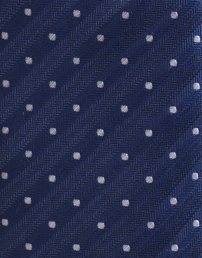 Navy blue silk tie with ivory dots
