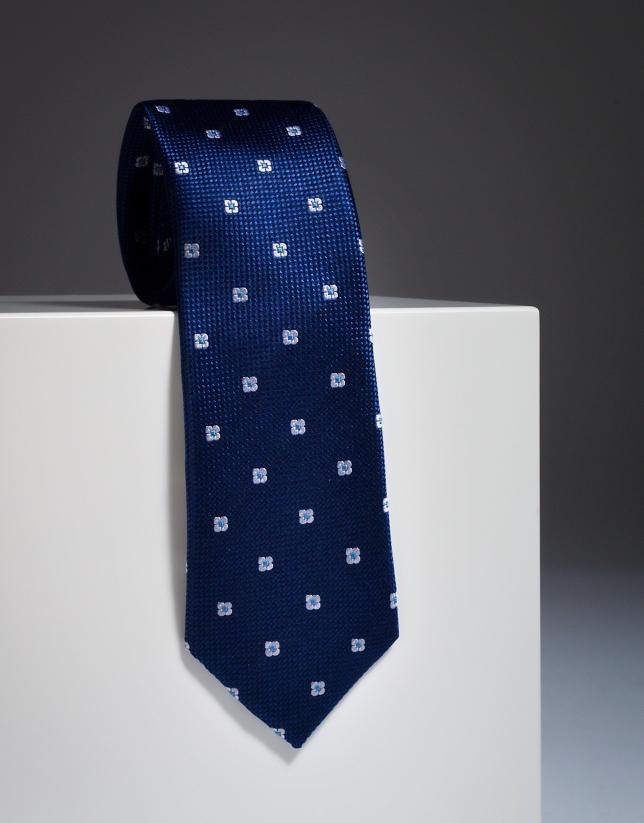 Navy blue silk tie with ivory design