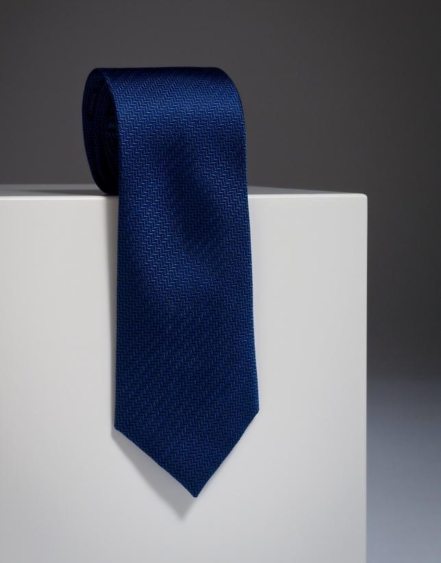 Navy blue herringbone silk tie