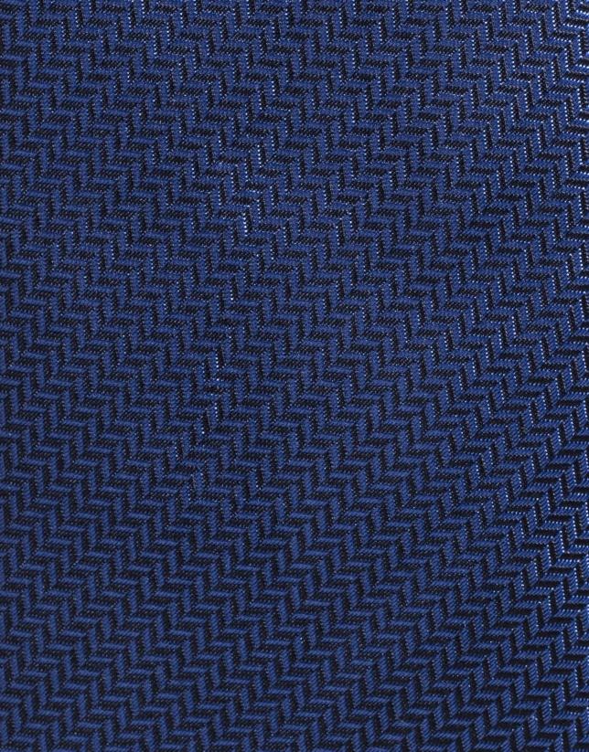 Cravate en soie bleu marine à chevrons