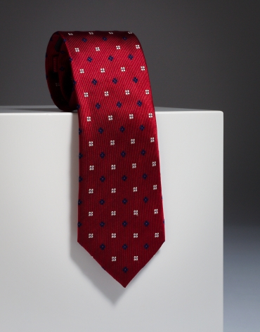 Red silk tie with navy blue flowers