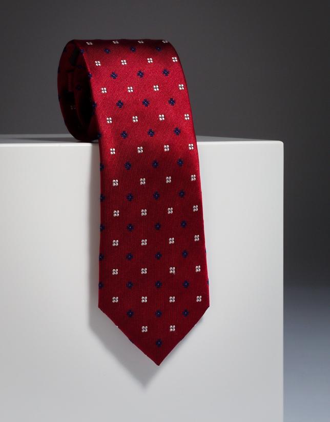 Corbata seda roja con fantasía flores marino