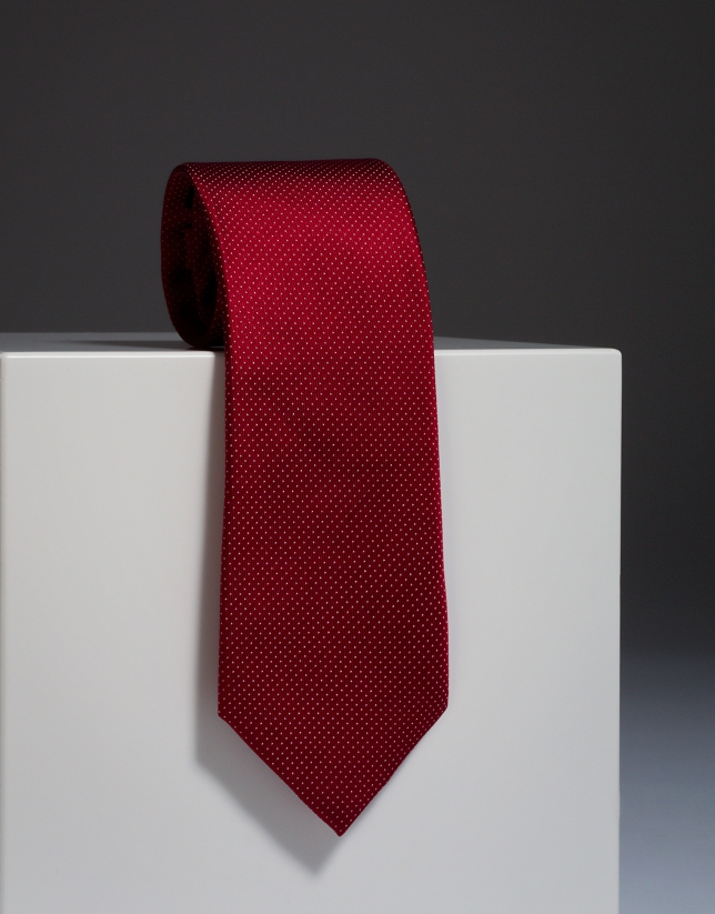 Red silk tie with ivory microdots