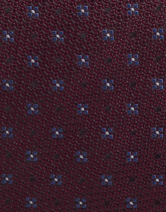 Corbata seda granate con fantasía flor azulón