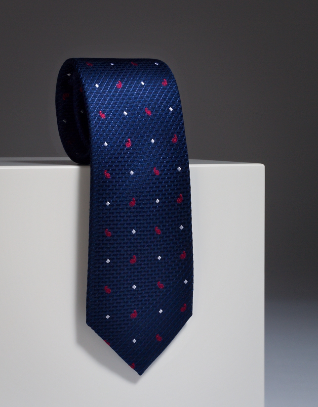 Navy blue silk tie with red paisley