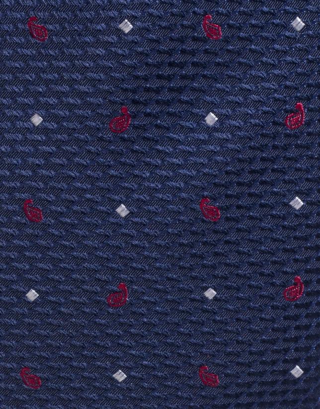 Corbata seda marino con ameba roja