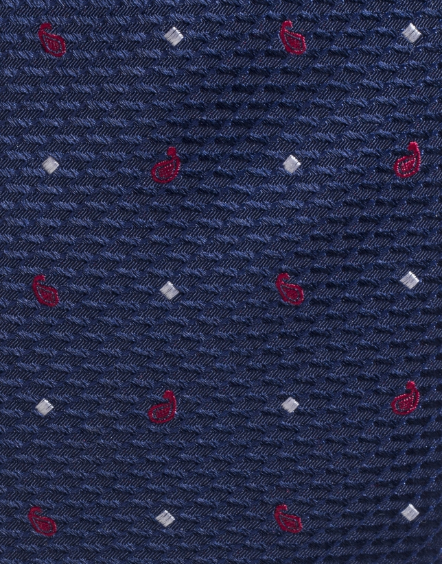 Cravate en soie bleu marine et amibes en rouge