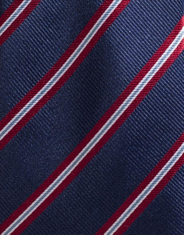 Corbata seda marino con raya roja/cruda