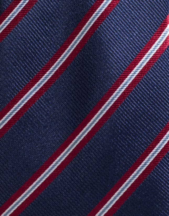 Navy blue silk tie with red/ivory stripes