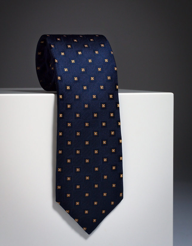 Navy blue tie with yellow checks