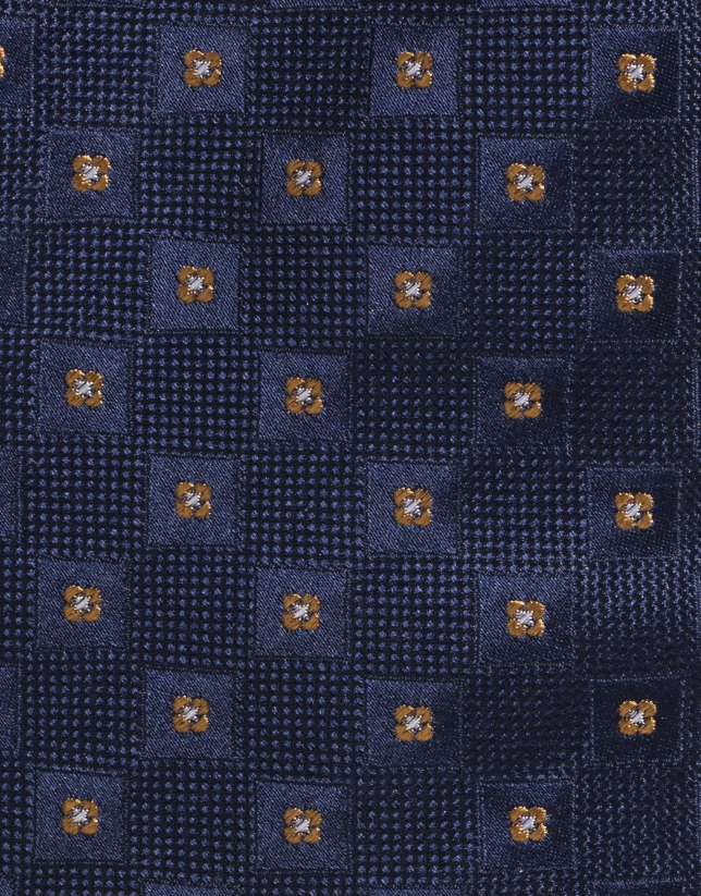 Corbata seda marino con cuadrito amarillo
