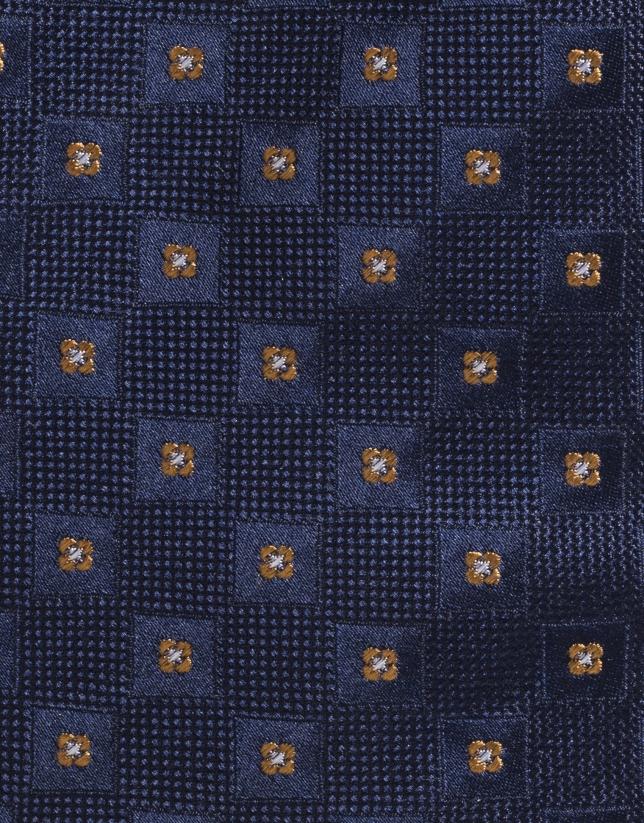 Cravate en soie bleu marine à petits carreaux jaunes