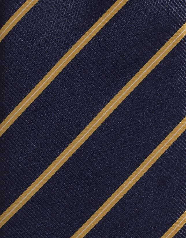 Cravate en soie bleu marine à rayures jaunes