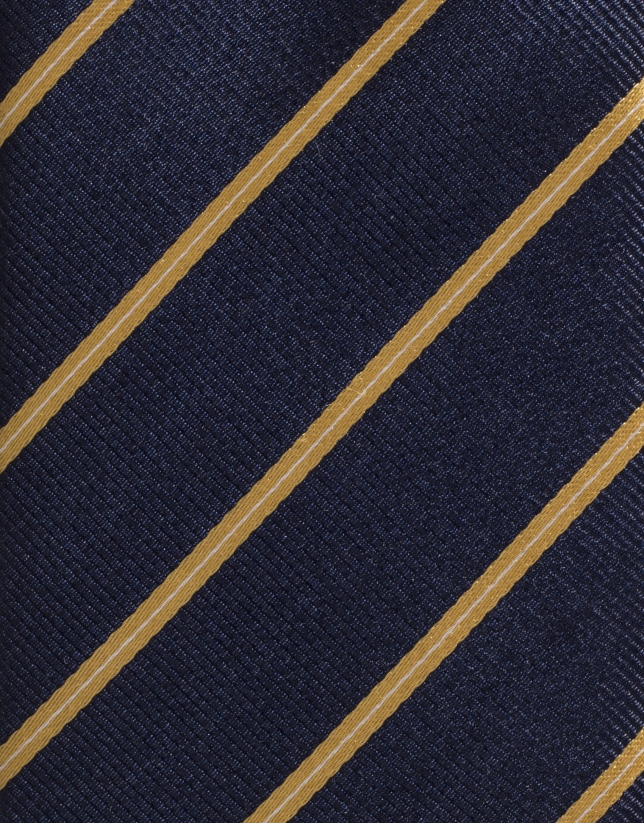 Navy blue silk tie with yellow stripes