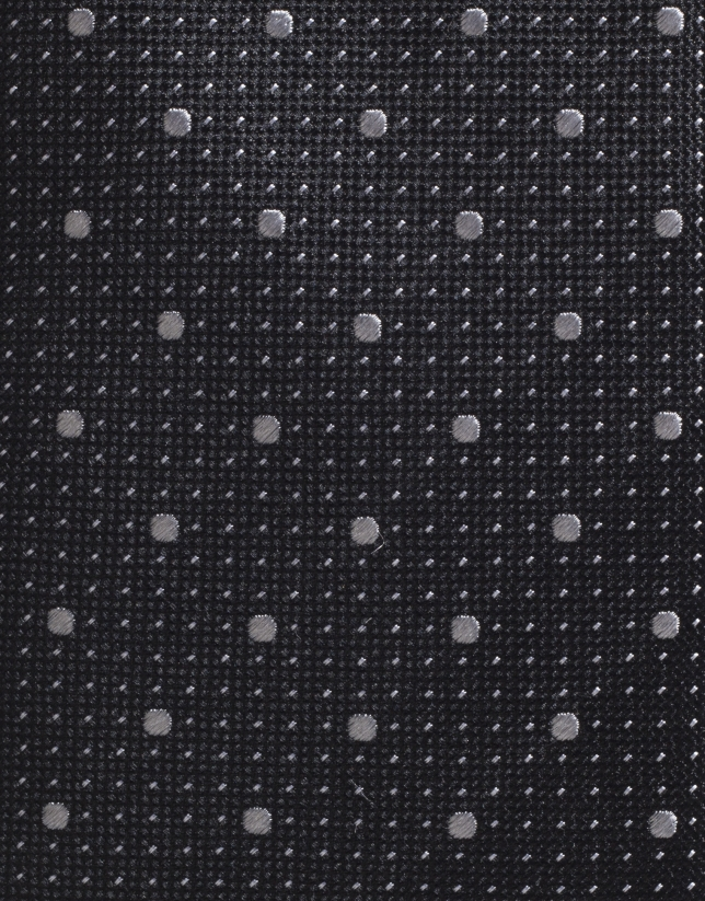 Black silk tie with gray microdots