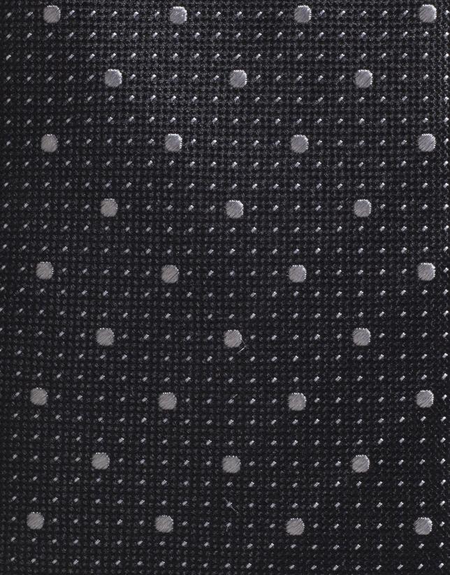 Cravate en soie noire avec des micro-pois gris