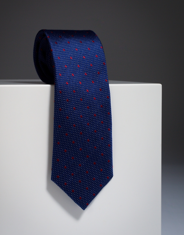 Navy blue silk tie with red dots and ivory microdots