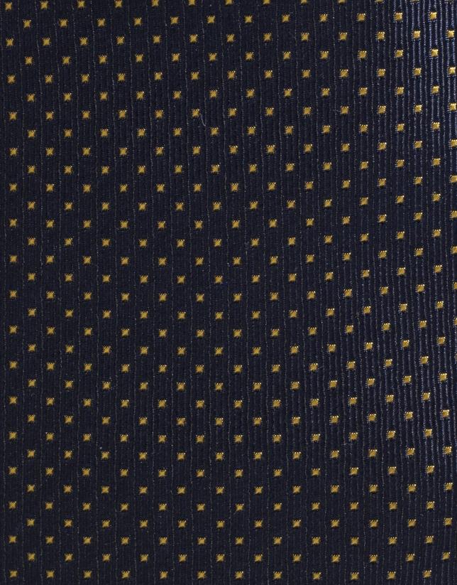 Cravate en soie bleu marine avec des micro-pois en jaune