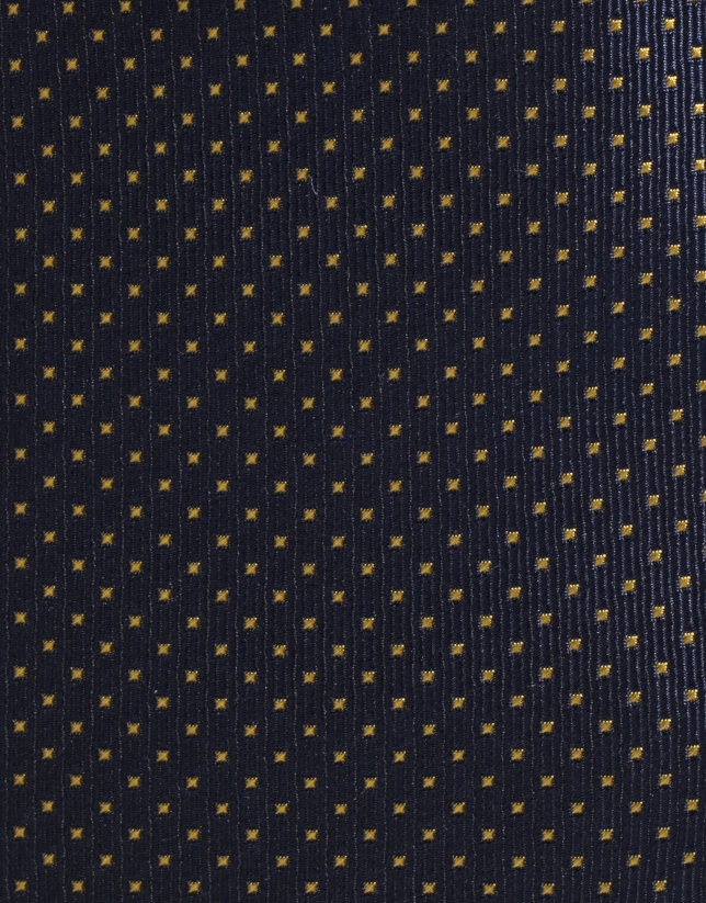 Navy blue silk tie with yellow microdots
