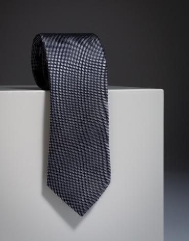 Black jacquard silk tie with ivory diamond design
