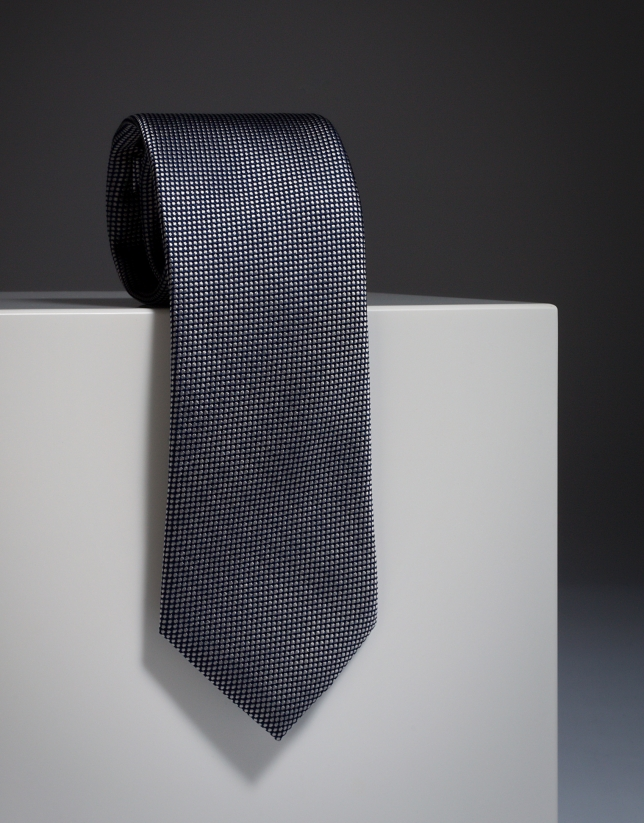 Cravate en soie noire à jacquard en écru