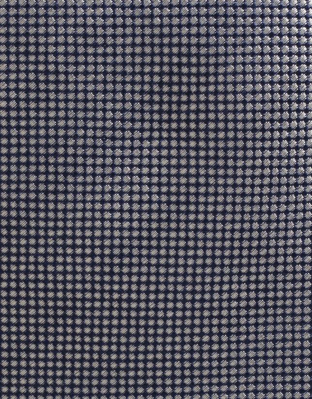 Corbata seda negra con jacquard en crudo