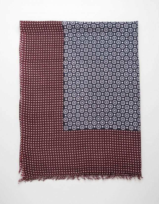 Blue circle and maroon dot scarf