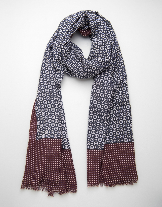 Blue circle and maroon dot scarf