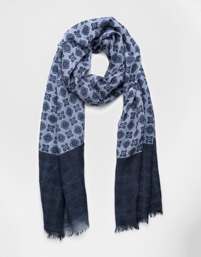 Blue scarf with navy blue trim