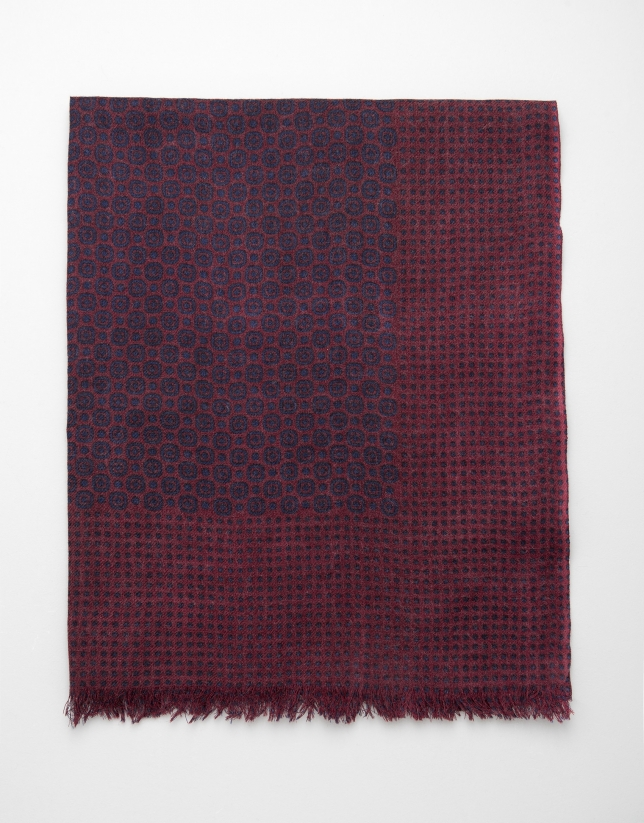 Maroon scarf with navy blue dot and circle design
