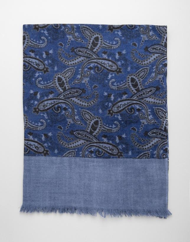 Foulard fantaisie en cachemire bleu roi