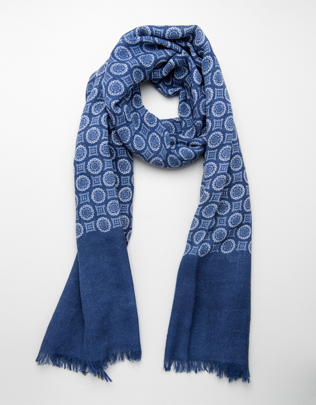 Blue scarf with circles and squares
