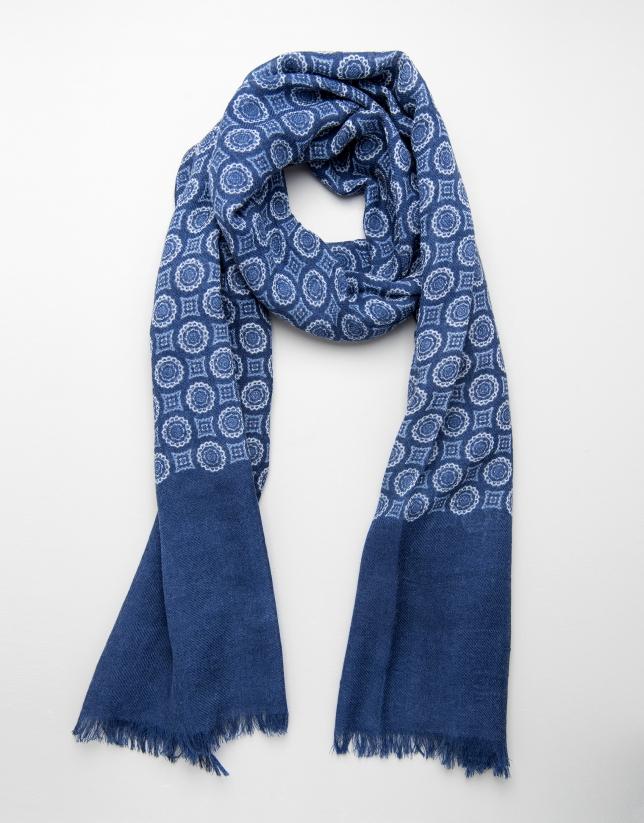 Foulard fantaisie à cercles et carreaux en bleu roi