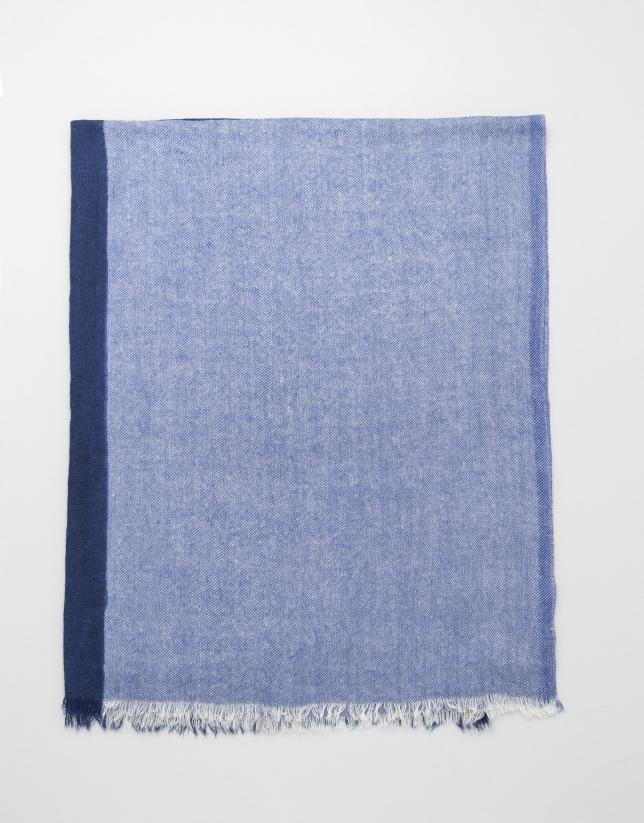 Bufanda bicolor azulón