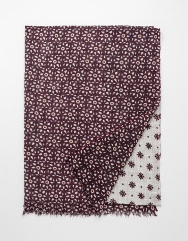 Foulard estampado floral geométrico granate / crudo