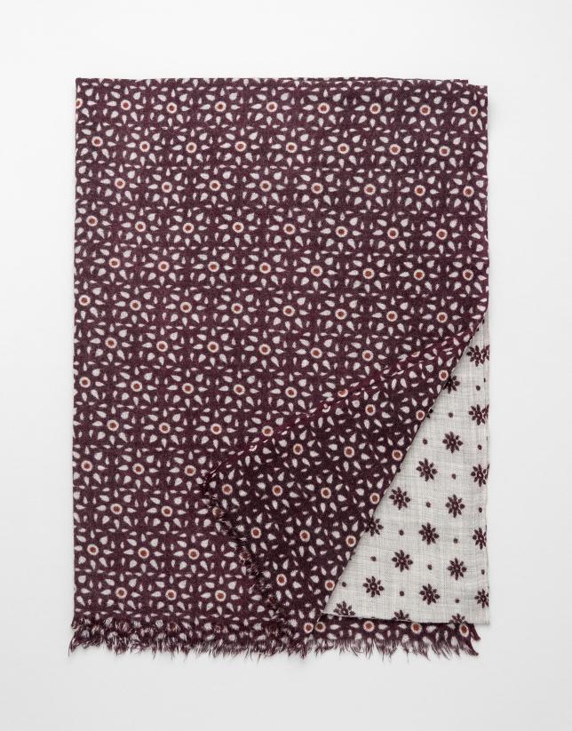Foulard imprimé floral géométrique grenat/écru
