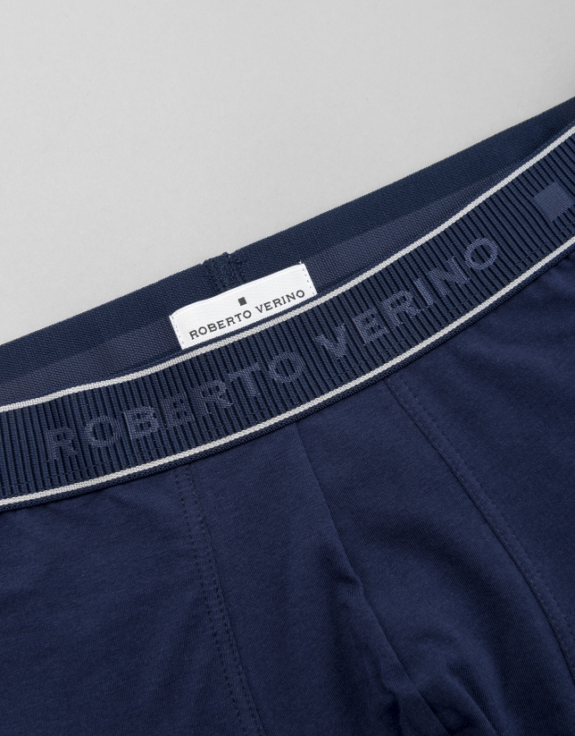 Blue knit boxer shorts