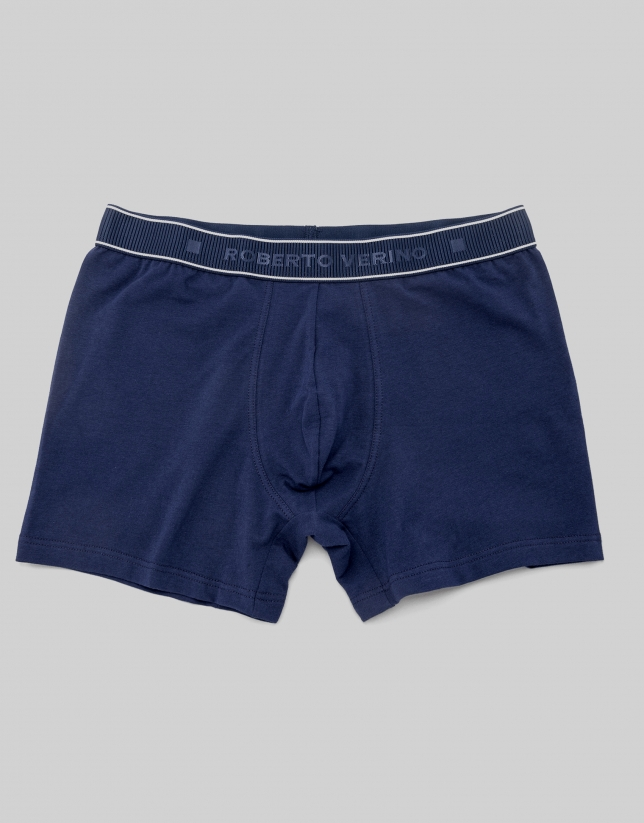 Blue knit boxer shorts