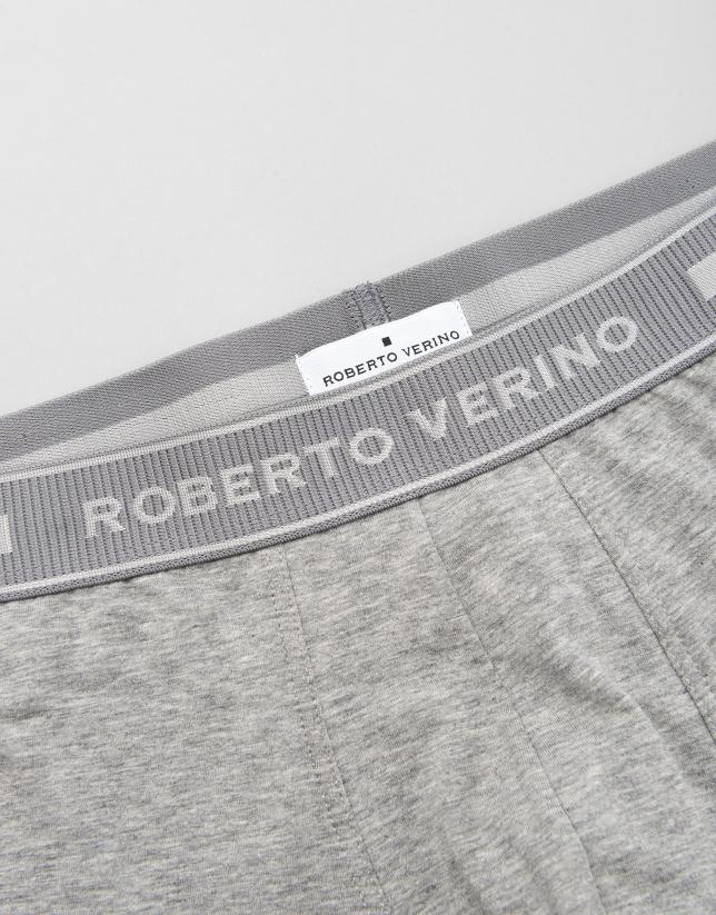 Gray knit boxer shorts