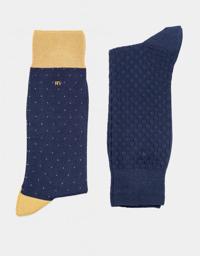 Pack calcetines azul marino cuadros y topos