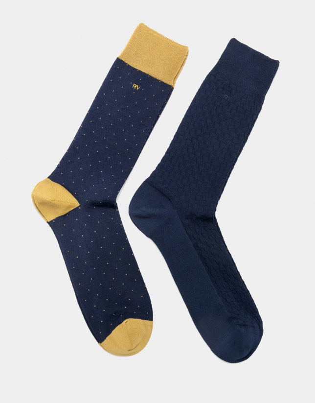 Pack of navy blue checked and dotted socks