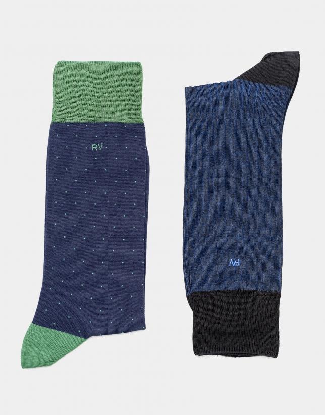 Pack de chaussettes à pois en bleu marine
