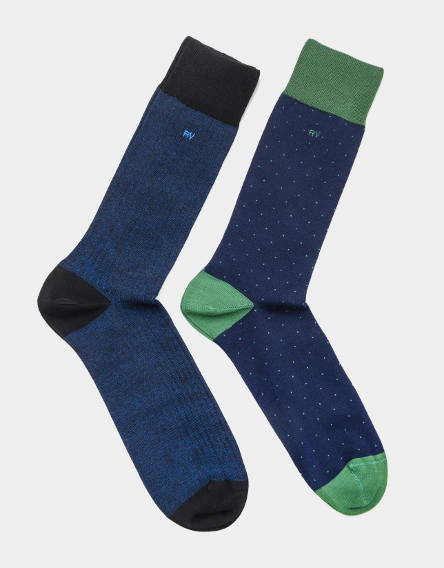 Pack of navy blue dotted socks