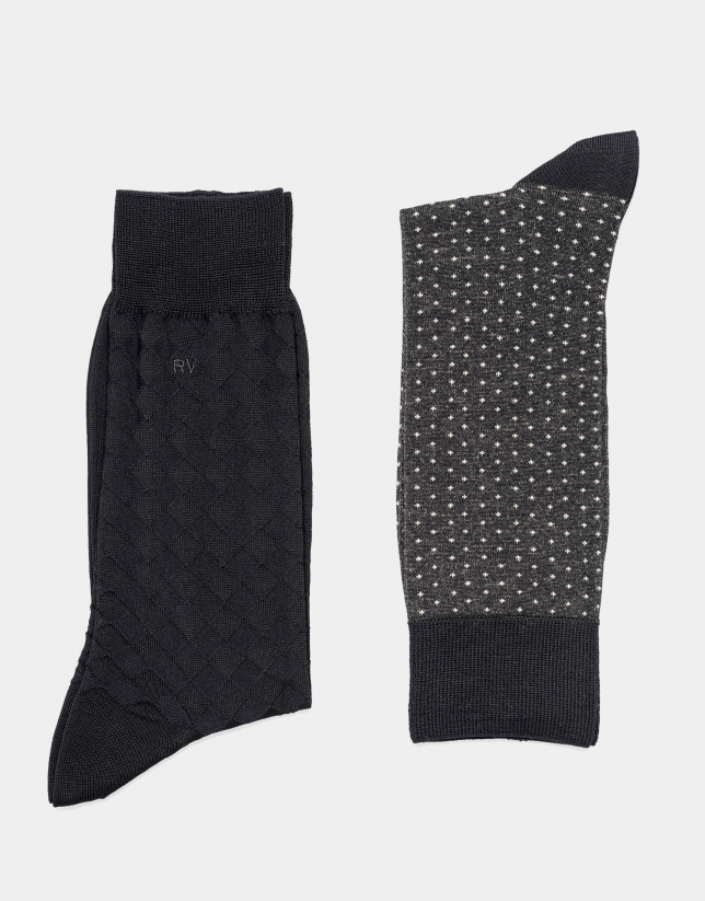 Pack calcetines negro y gris