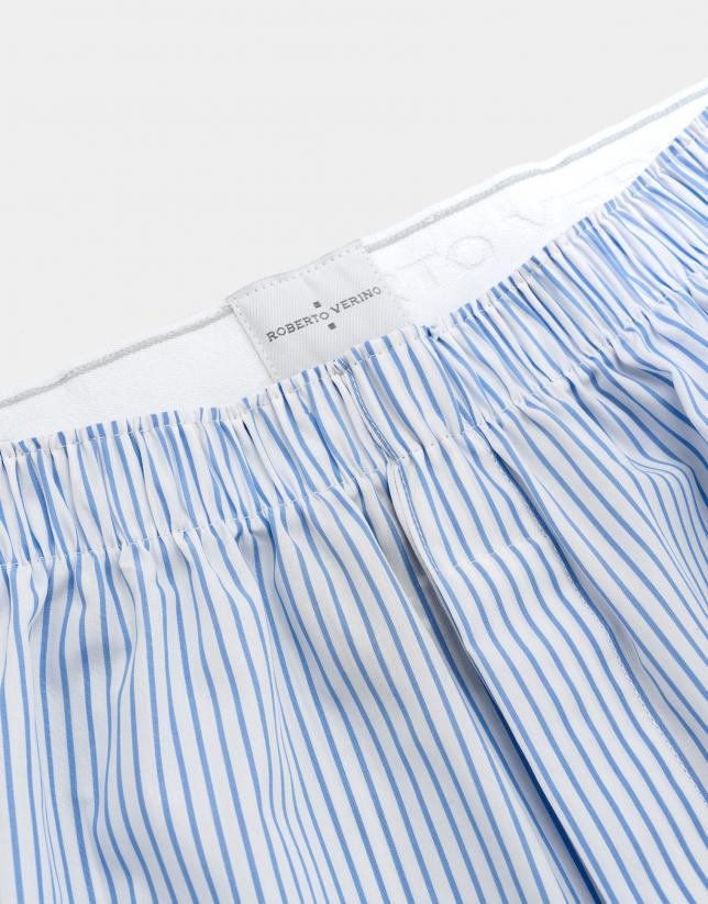 White striped fabric boxer shorts